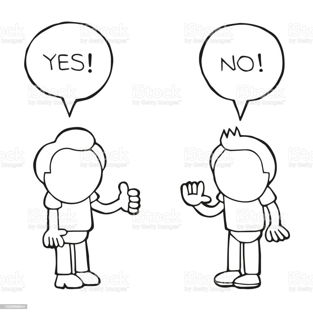 Vector Handdrawn Cartoon Of Two Men Arguing Yes No In