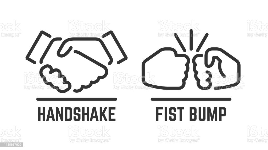 Vector Handshake And Fist Bump Outline Icon With Agreement