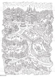 outline fantasy landscape vector coloring adult fairy album town garden adults church poster buildings contoured humorous riverbank trees road street