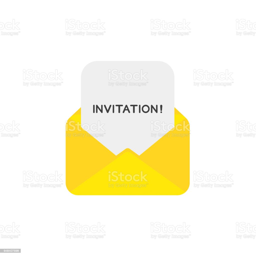 https www istockphoto com vector vector icon concept of open envelope with invitation word written on paper gm948407598 258925527