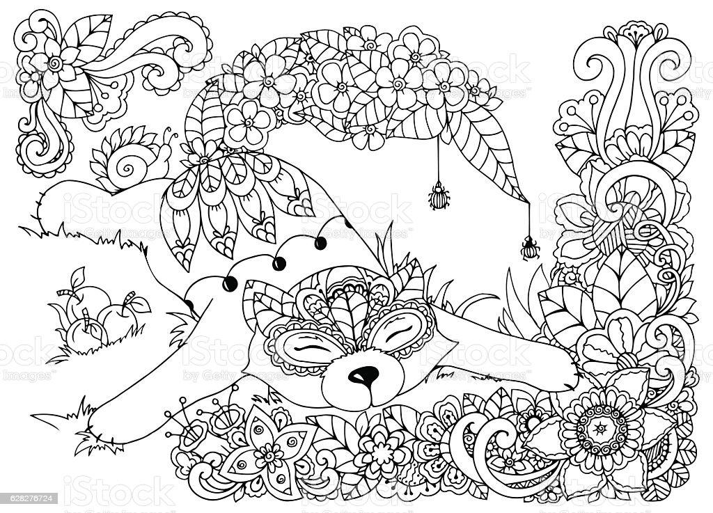 Ilustração Vetorial De Raposa De Flores Sarrabisco Desenho