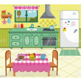 Vector Illustration Of A Cartoon Kitchen For General Use Stock Illustration Download Image Now iStock