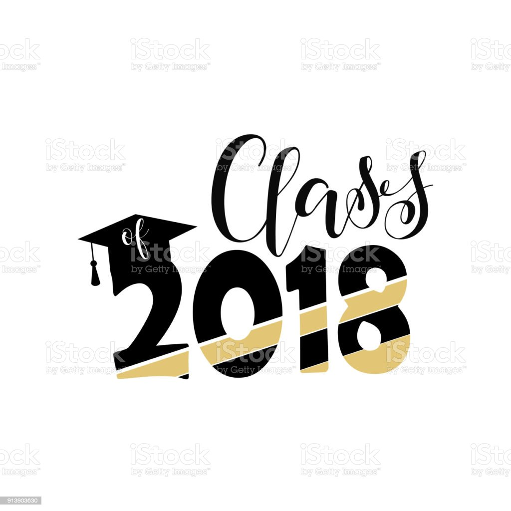 Vector Illustration Of A Graduating Class In 2018 Graphics