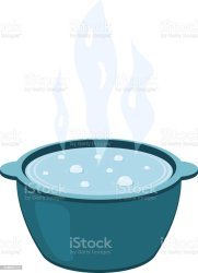 Vector Illustration Of A Metal Pot With Boiling Water Cooking Food Cartoon Kettle With Steam On A White Background Stock Illustration Download Image Now iStock