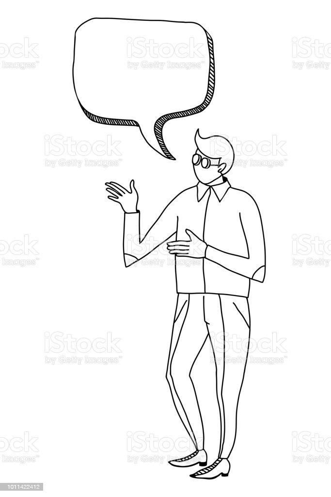 illustration vectorielle dune personne sans visage qui parle de quelque chose croquis noir et blanc vecteurs libres de droits et plus d images vectorielles de abstrait istock