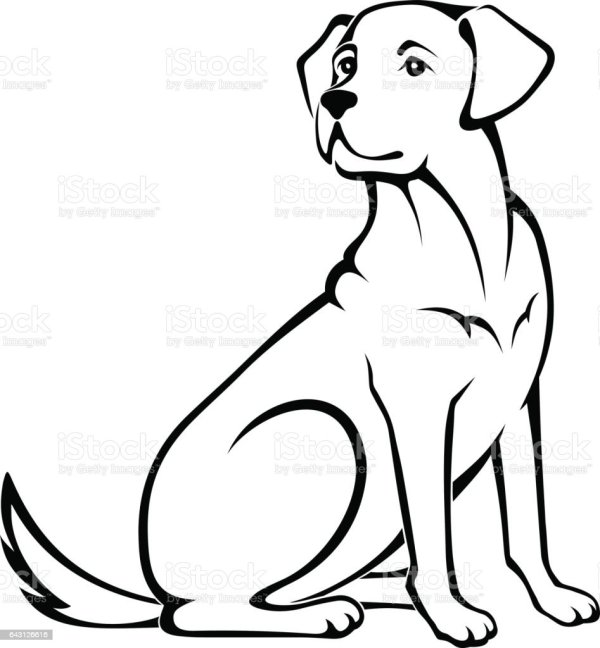 Vector Illustration Of A Sitting Dog Stock Vector Art