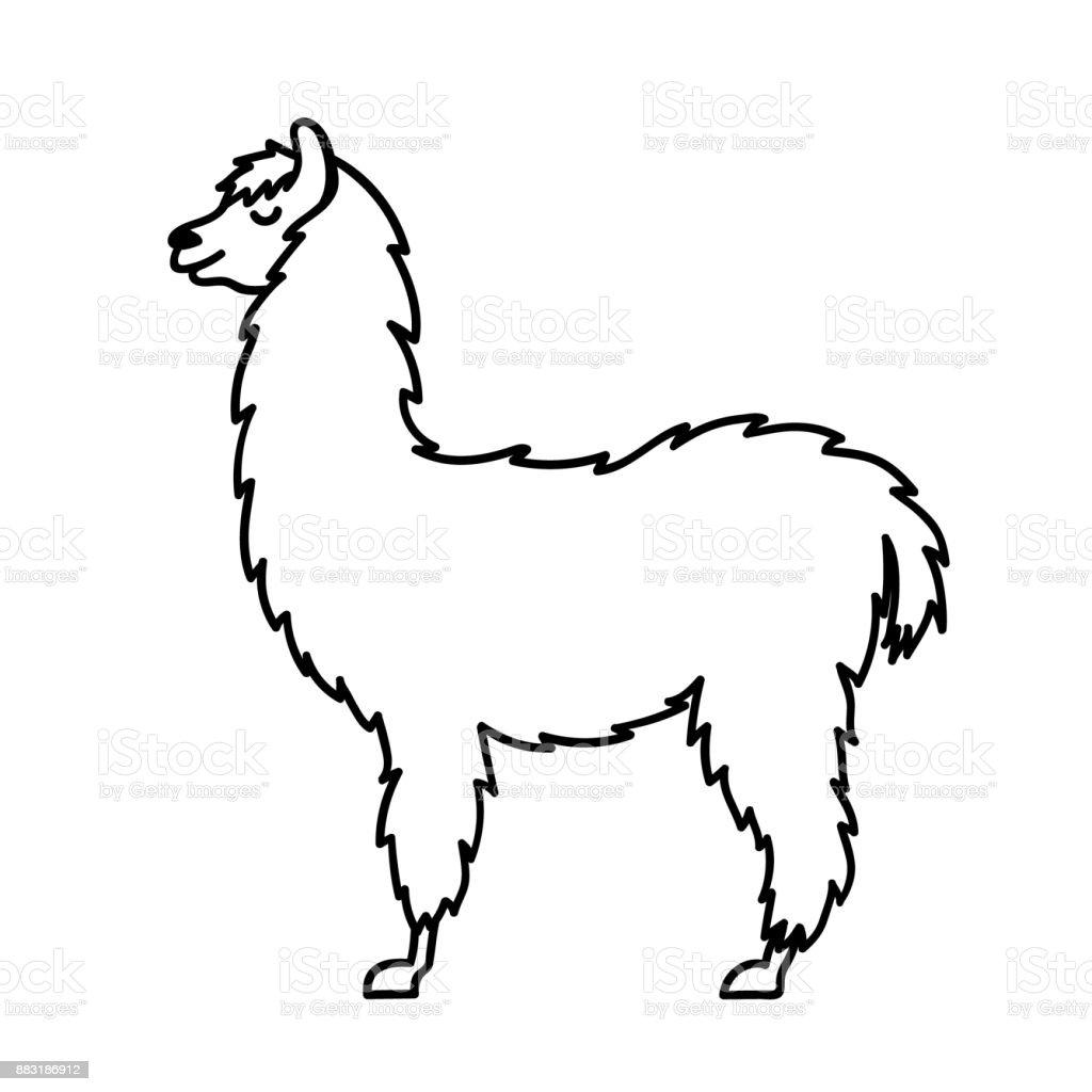 Vector Illustration Of Cute Character South America Lama