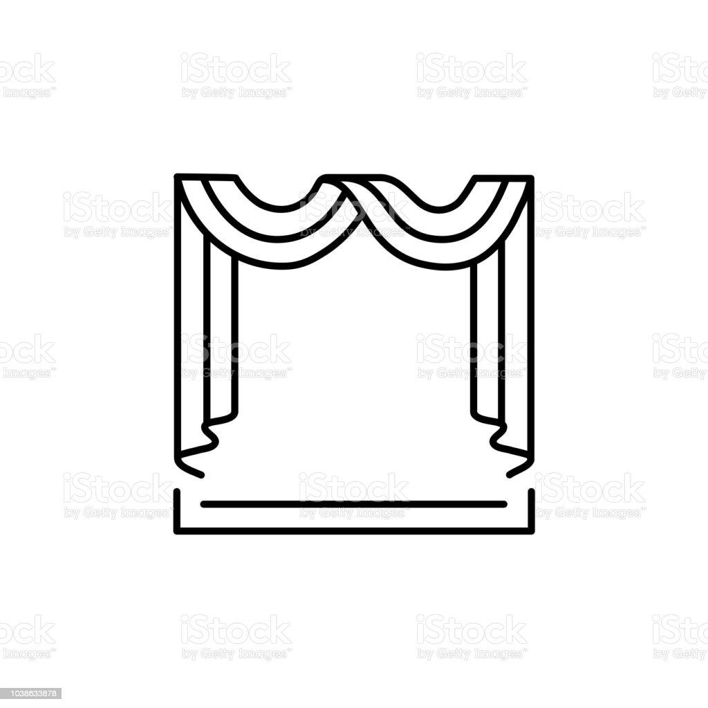 swag kitchen curtains pull down faucet 織物圍巾窗簾的向量插圖線條圖示的陰影與贓物和層疊前視圖白色背景上的 織物圍巾窗簾的向量插圖 線條圖示的陰影與贓物和層疊