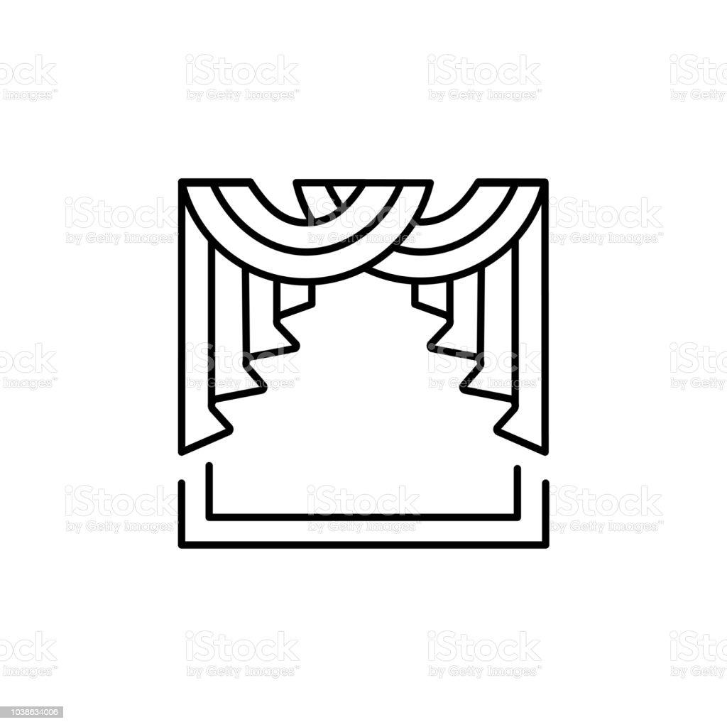 swag kitchen curtains trash bin 織物圍巾窗簾的向量插圖線條圖示的陰影與贓物和層疊櫥窗裝飾在白色背景上 織物圍巾窗簾的向量插圖 線條圖示的陰影與贓物和層疊