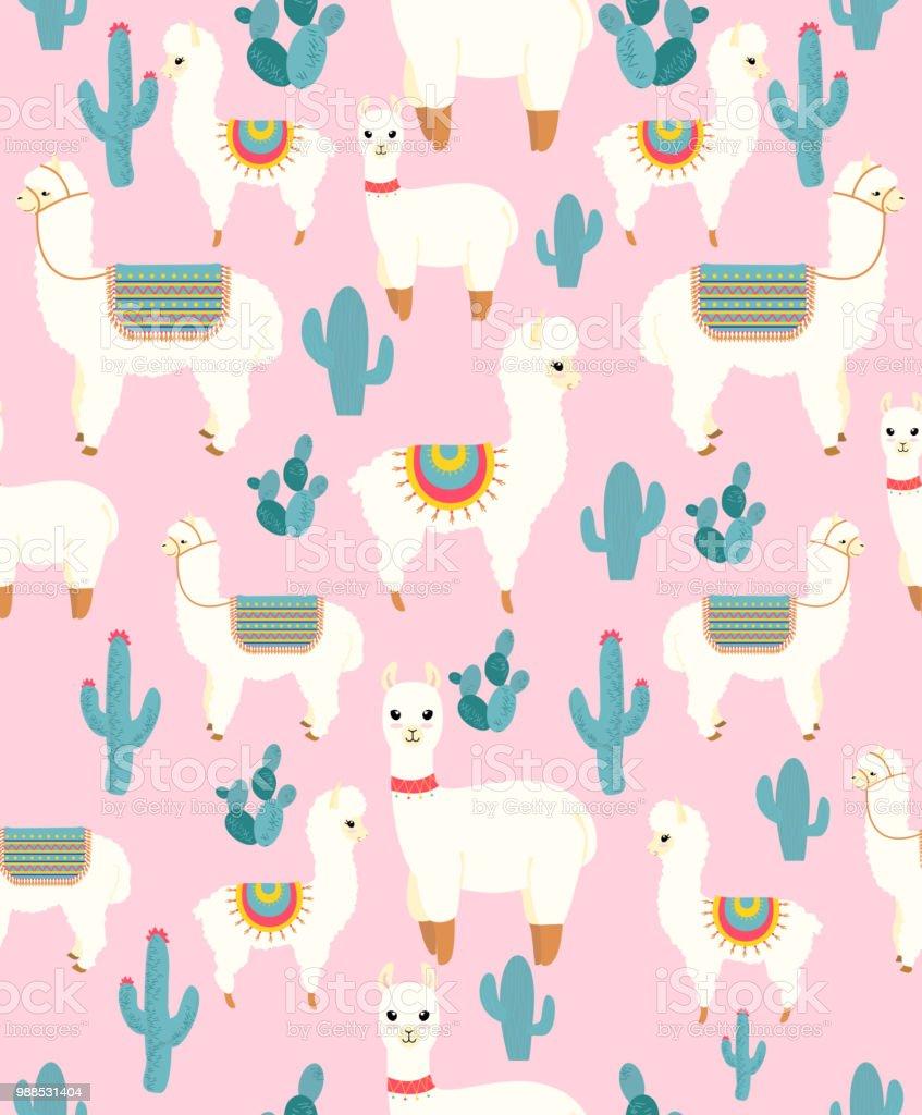Cute Llamacorn Wallpaper Vector Illustration Of Seamless Pattern With Cute Cartoon