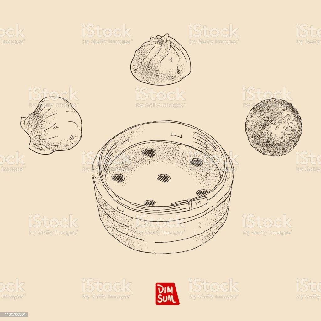 hight resolution of vector illustration sketch dim sum yum cha include shrimp dumpling
