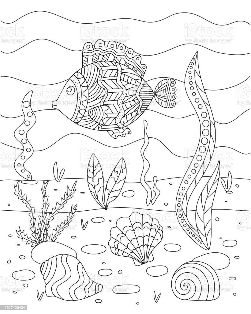 Sea Floor Drawing : floor, drawing, Vector, Illustration, Algae, Shell, Floor, Coloring, Children, Simple, Funny, Drawing, Stock, Download, Image, IStock