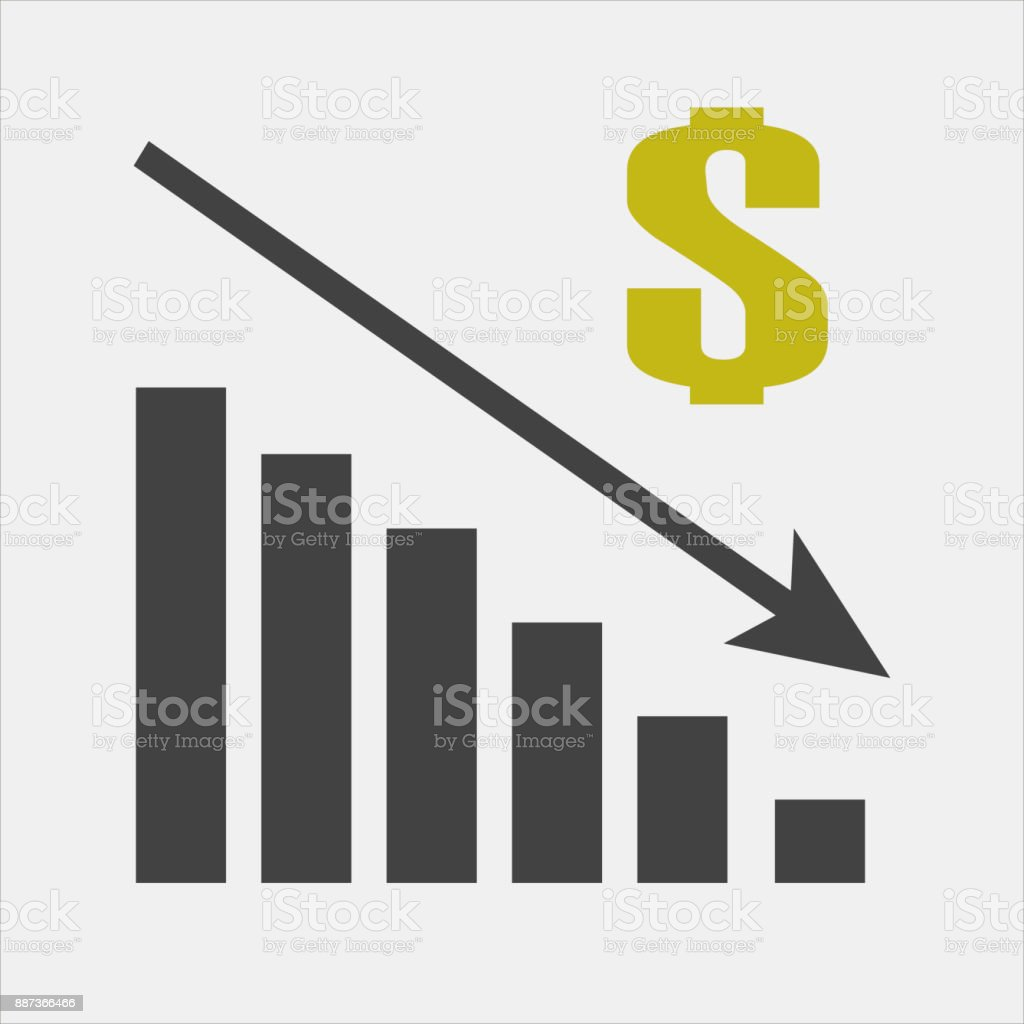 hight resolution of vector image diagram of decline recession icon financial crisis drop in sales royalty