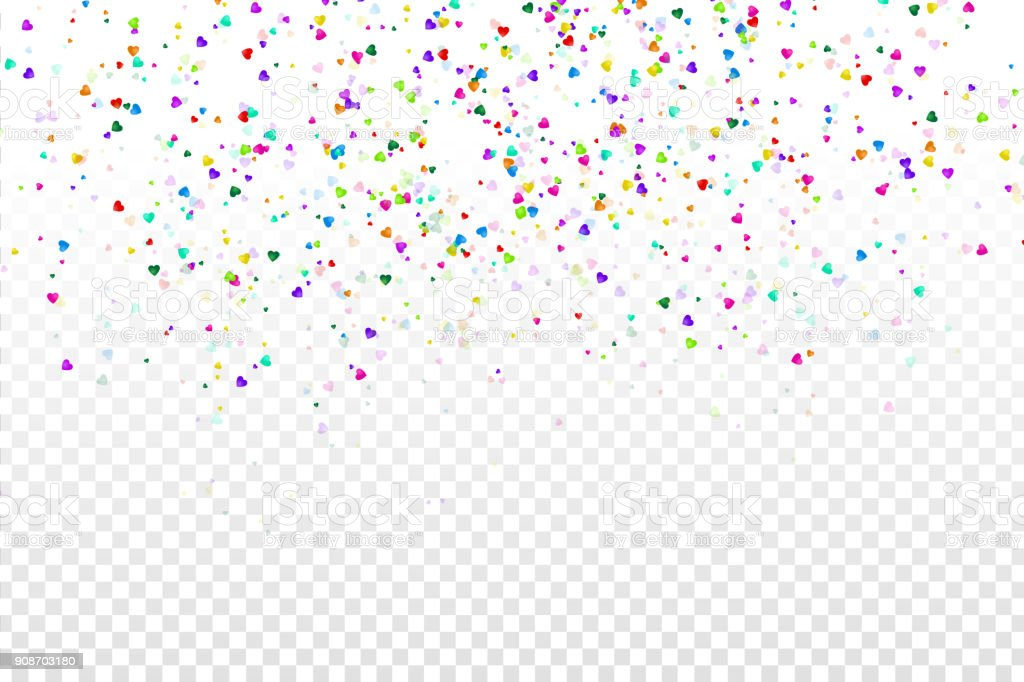 Falling Glitter Confetti Wallpapers Vector Isolated Heart Colorful Confetti On The Transparent