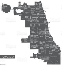 Vector Map Chicago District Stock Art 639628580