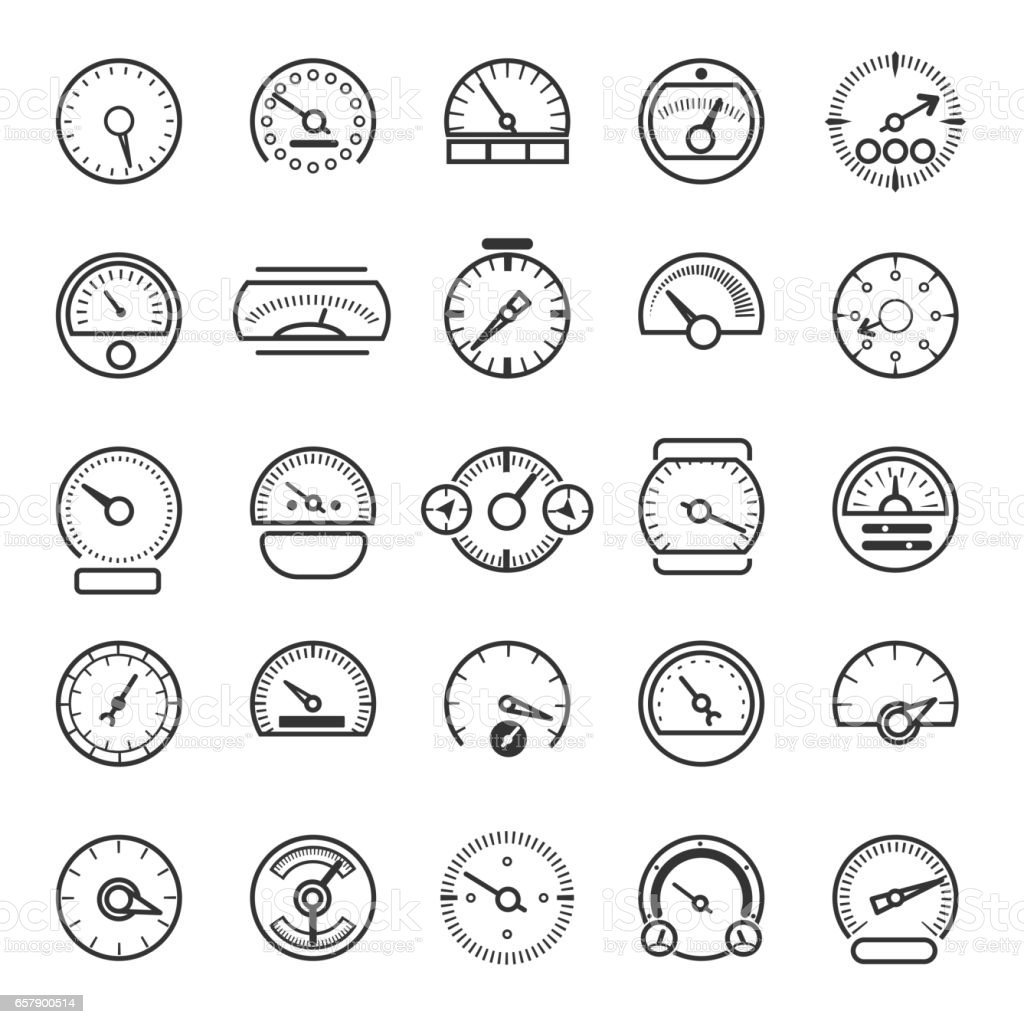 Vector Meter And Gauge Control Icons For Dashboard Stock