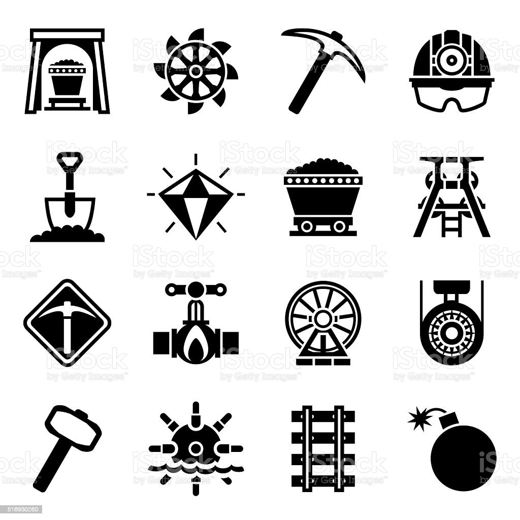 Vector Mining Icon Set Stock Vector Art & More Images of
