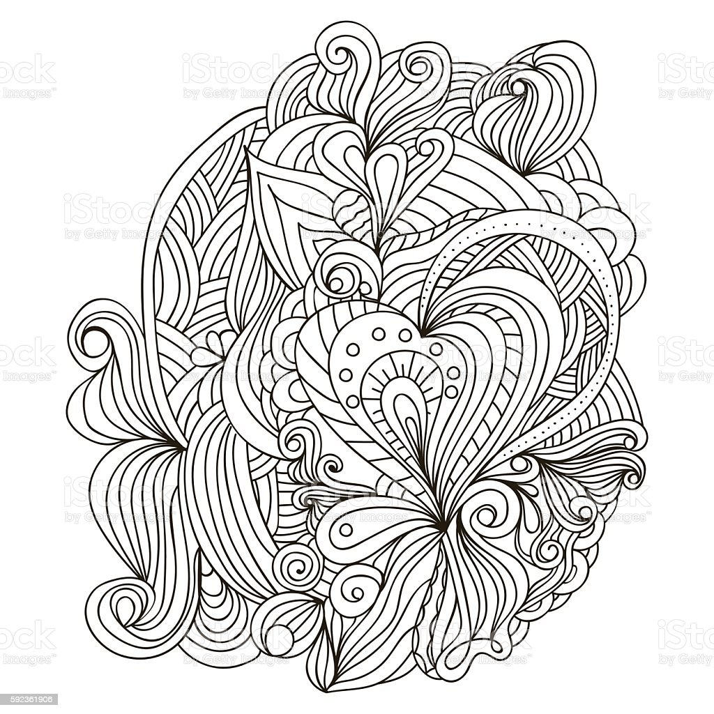 Vector Monochrome Background Hand Drawn Template For Adult