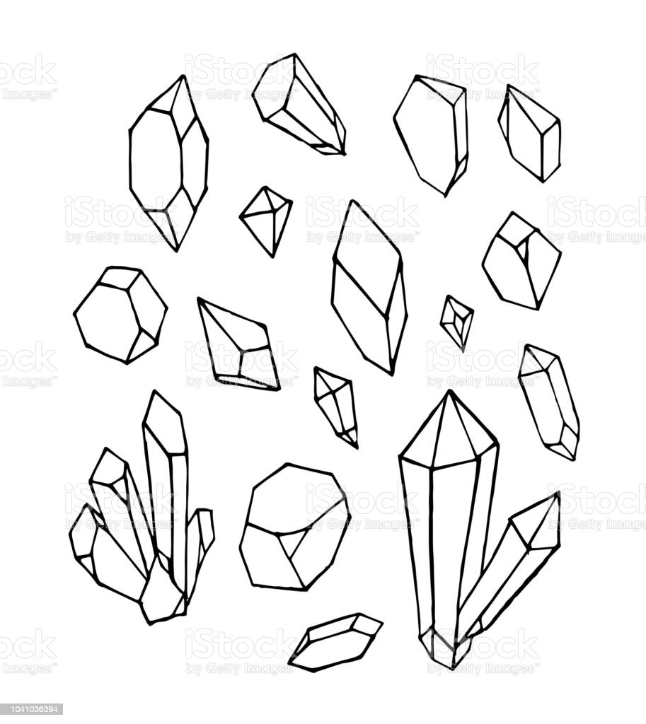 Vector Of Hand Draw Mineral Crystal Stone Isolated On