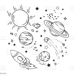 space draw planets sun doodles icon drawing theme drawings planet saturn istockphoto hands clip desenhos result illustrations easy sketches bild