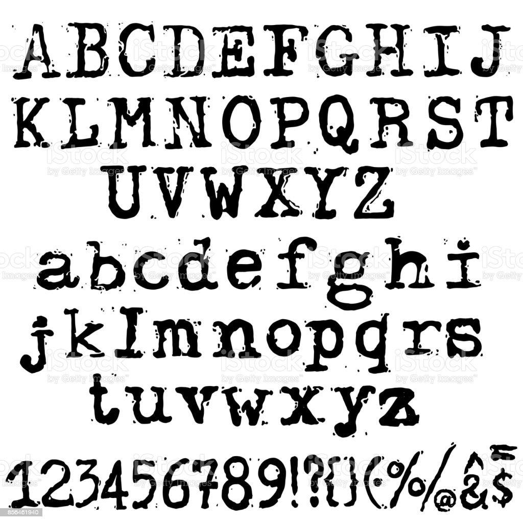 Vector Old Typewriter Font Vintage Grunge Letters Old