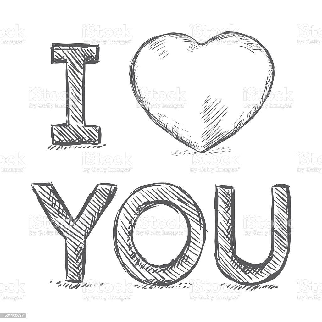 Vector Lápis Desenho Ilustraçãoi Love Youfrase Em Inglês
