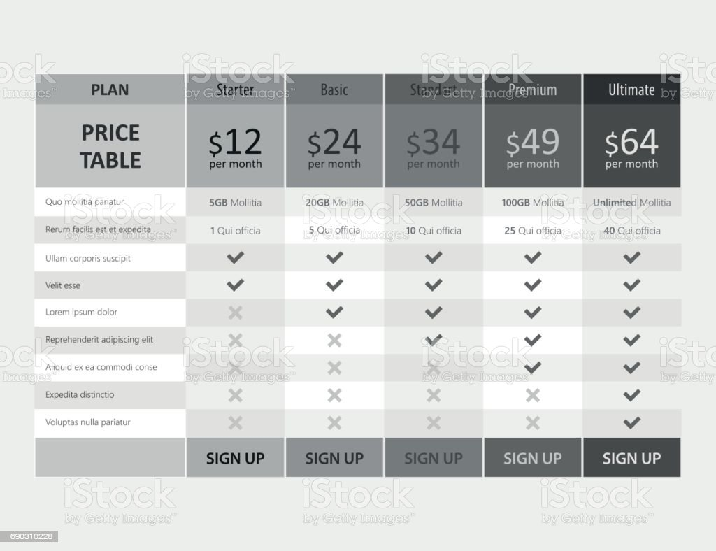 Vector Pricing Table Template Design For Business Royalty-Free Vector  Pricing Table Template Design For