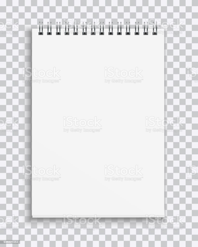 Vector Realistic Blank Notebook Isolated On Transparent