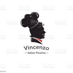 vector cook silhouette italian retro restaurant head