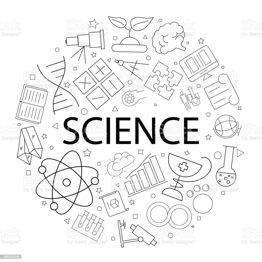 Vector Science Pattern With Word Science Background Stock