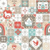 Vector Seamless Vintage Pattern Of Square Mosaic Tiles ...