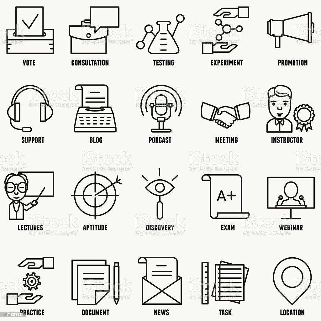 Vector Set Linear Business Education Icons Part 2 Stock