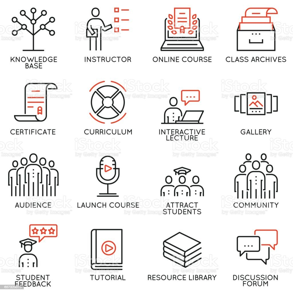 Vector Set Of 16 Icons Related To Business Education