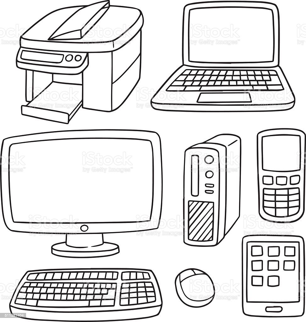 Vector Set Of Computer Smart Device And Computer