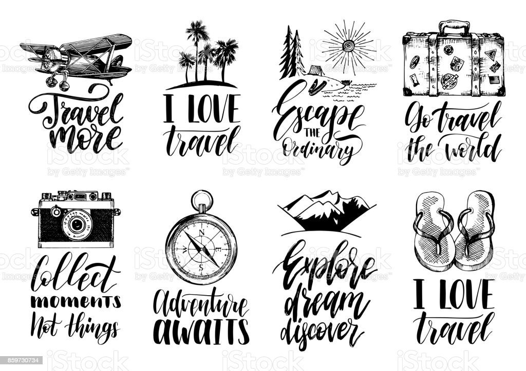 Vector Set Of Hand Lettering With Phrases About Traveling