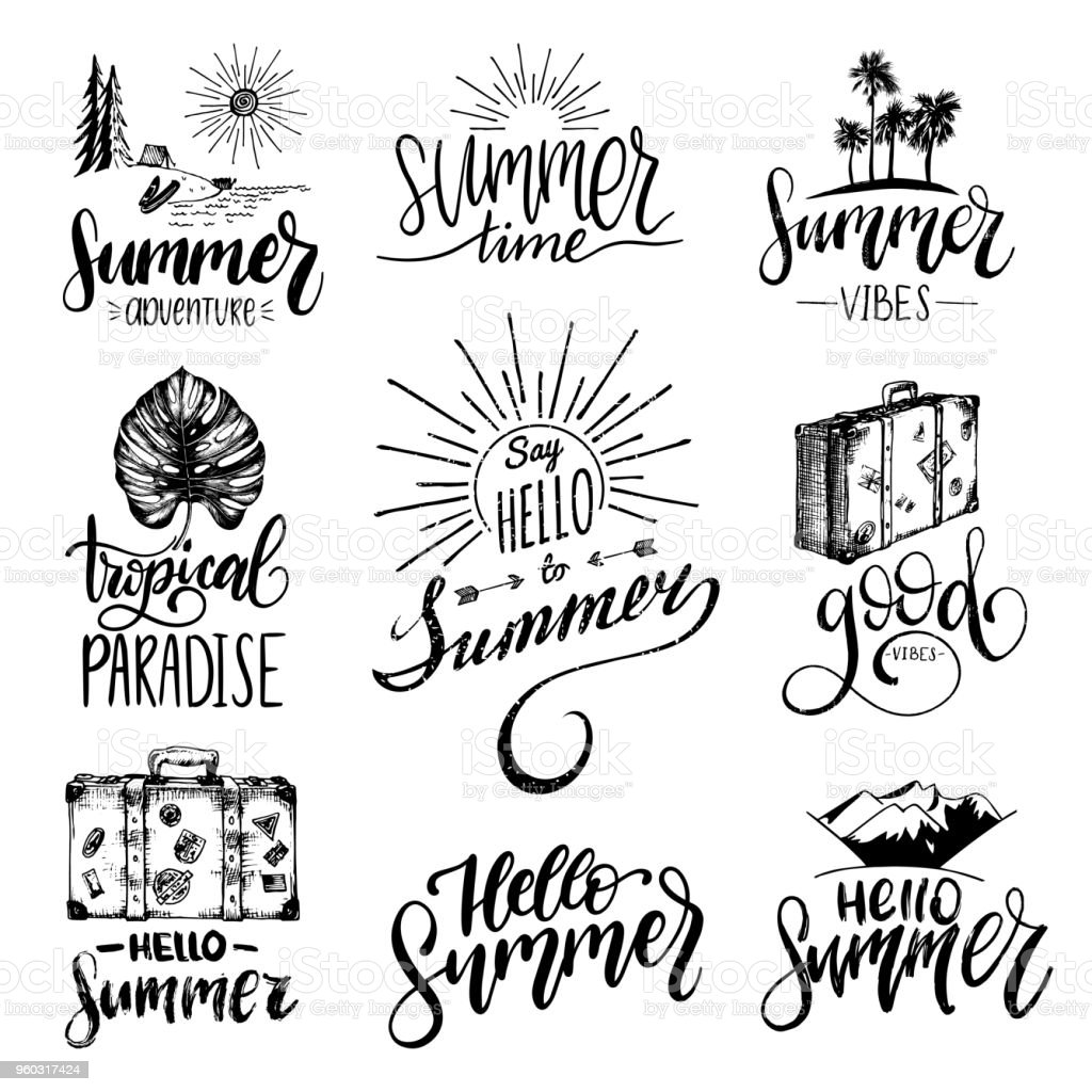 Vector Set Of Hand Lettering With Summer Motivational