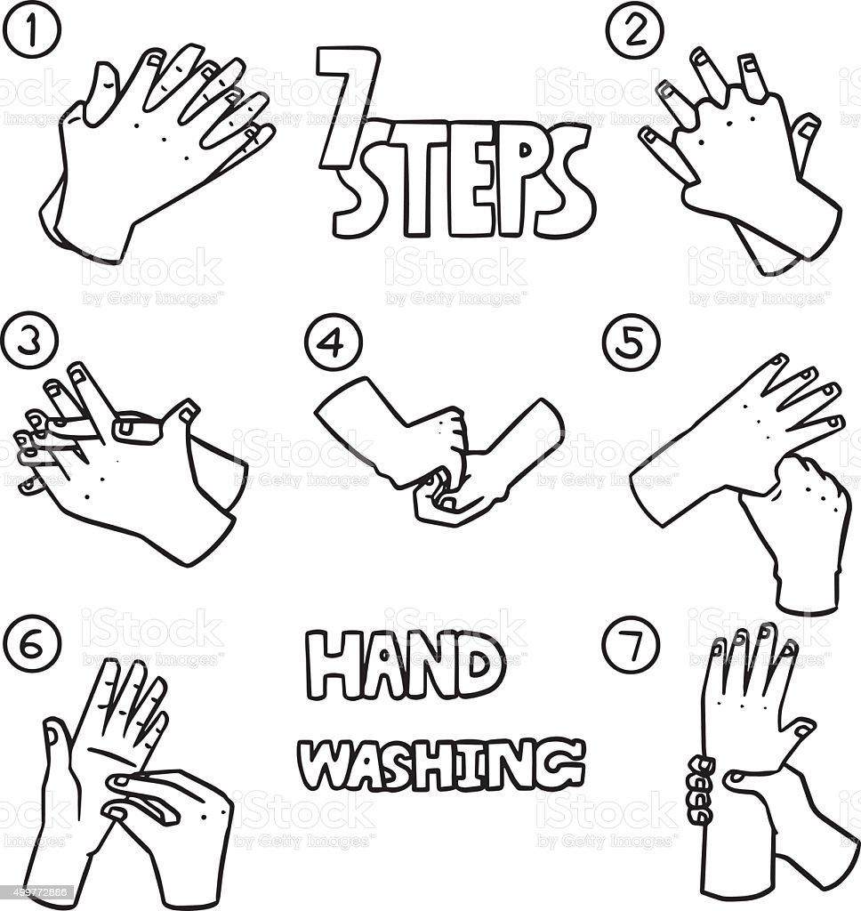Vector Set Of Hand Washing Steps Stock Vector Art & More
