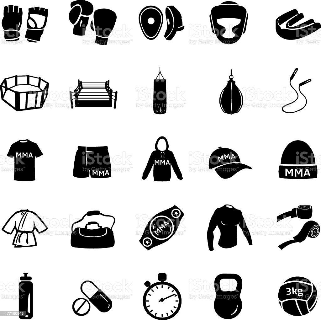 Vector Set Of Mix Martial Arts Icons Stock Vector Art