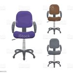 Vector Set Of Office Chairs With Casters Blue Grey Brown Desk Height Adjustable Armchairs Pieces Of Furniture For Workplace At Company Home Front View Flat Icon Collection Isolated On White Stock Illustration
