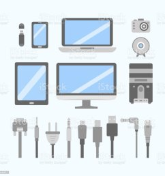 vector set of pc gadgets and devices flat icons cable wire computer wiring diagram pc icon [ 1023 x 1024 Pixel ]