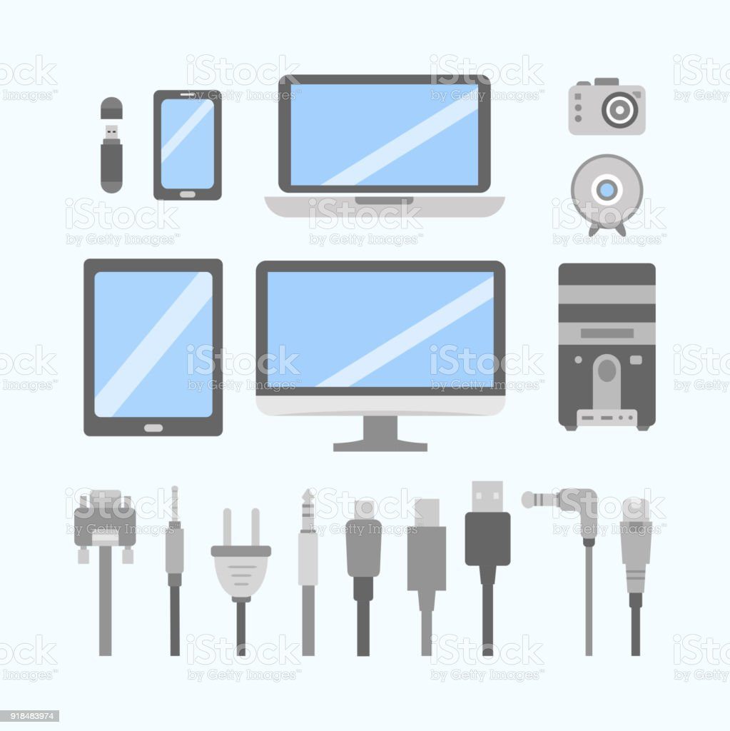 hight resolution of vector set of pc gadgets and devices flat icons cable wire computer wiring diagram pc icon