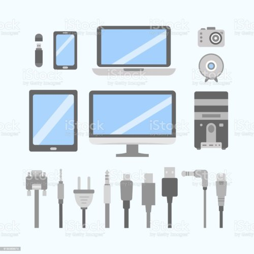 small resolution of vector set of pc gadgets and devices flat icons cable wire computer wiring diagram pc icon