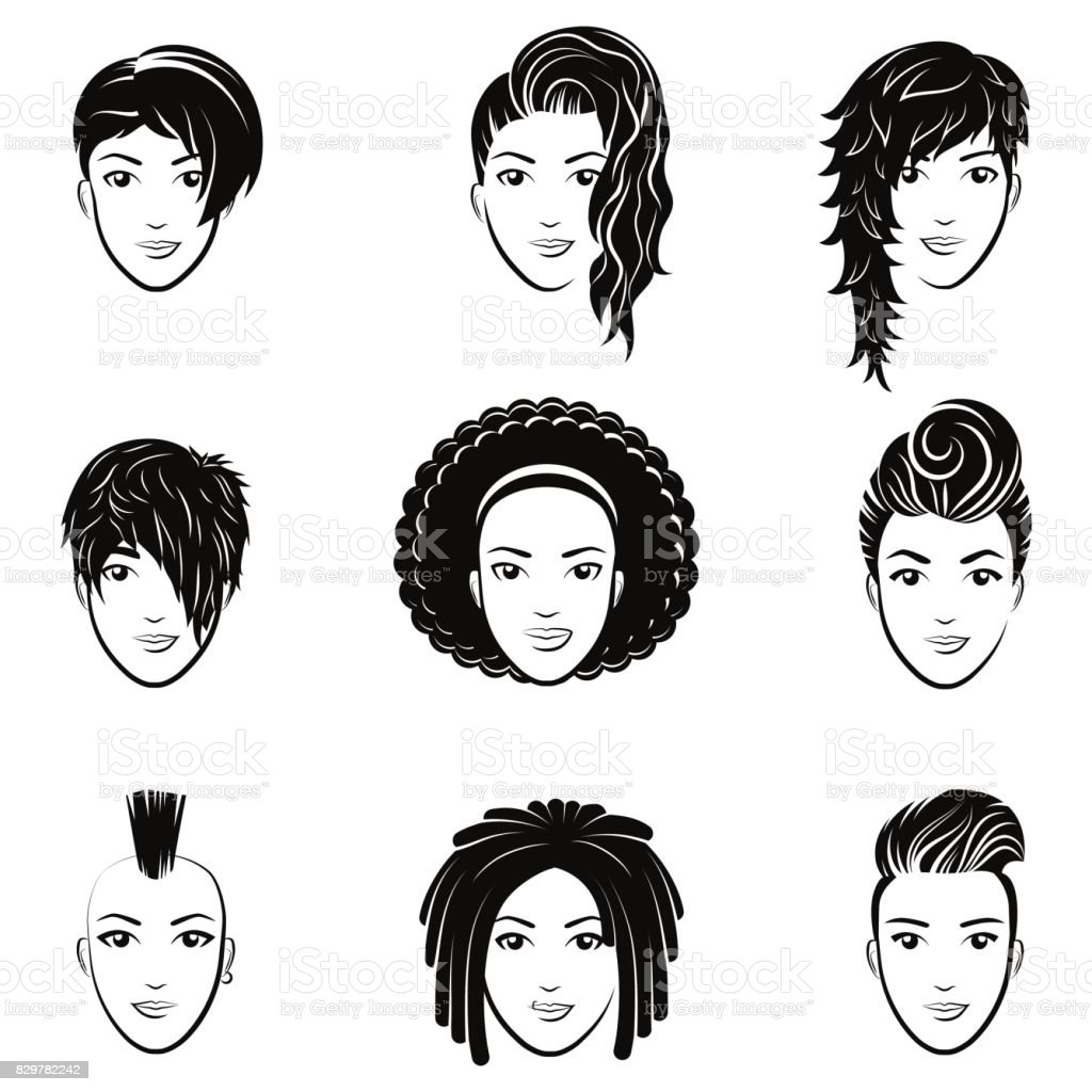 Vector Set Of Stylized With Beautiful Women Hairstyles