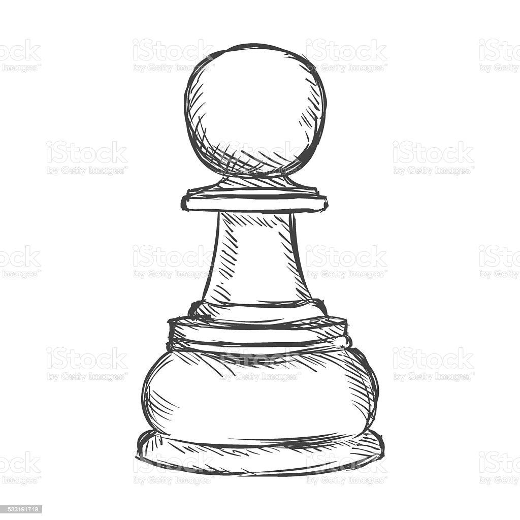 Vector Single Sketch Chess Figure Pawn Stock Vector Art