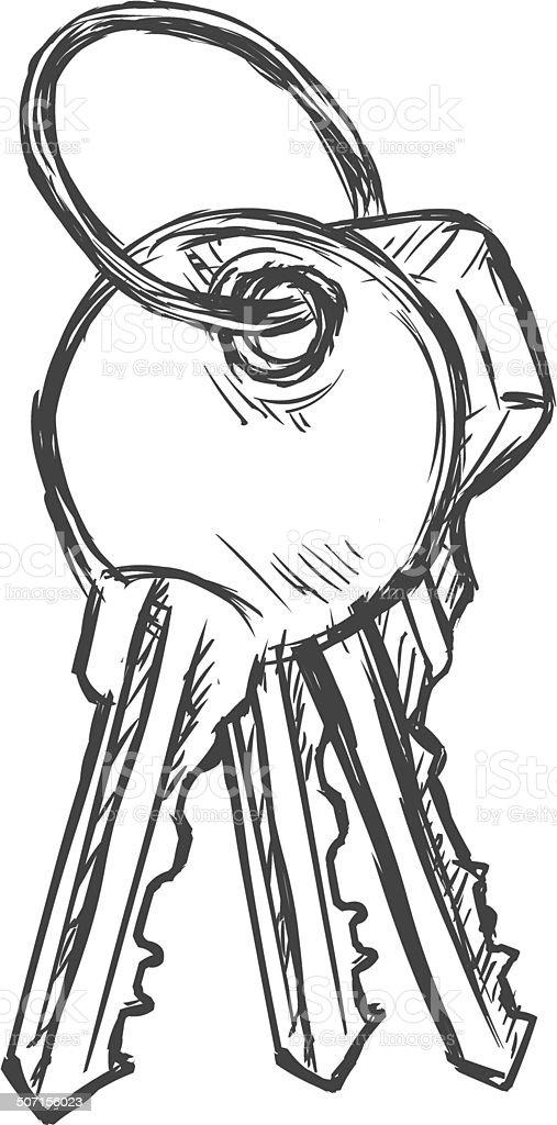Vector Sketch Bunch Of Three Keys Stock Illustration
