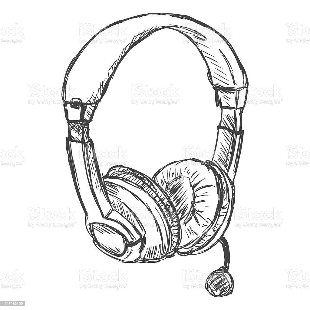 Vector Sketch Headset Circumaural Headphones With