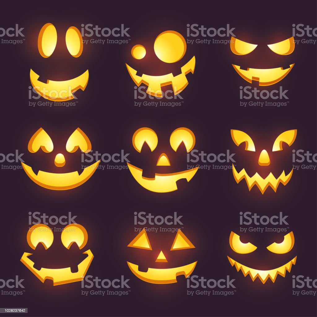 Even if it is a commercial project, our stock free photos can be simply downloaded and used by you. Vector Spooky Glowing Face Isolated On Dark Background Halloween Pumpkin Carving Faces Set Funny And Scary Eyes And Mouth Emojis For Your Celebration Design Eps 10 Stock Illustration Download Image Now Istock