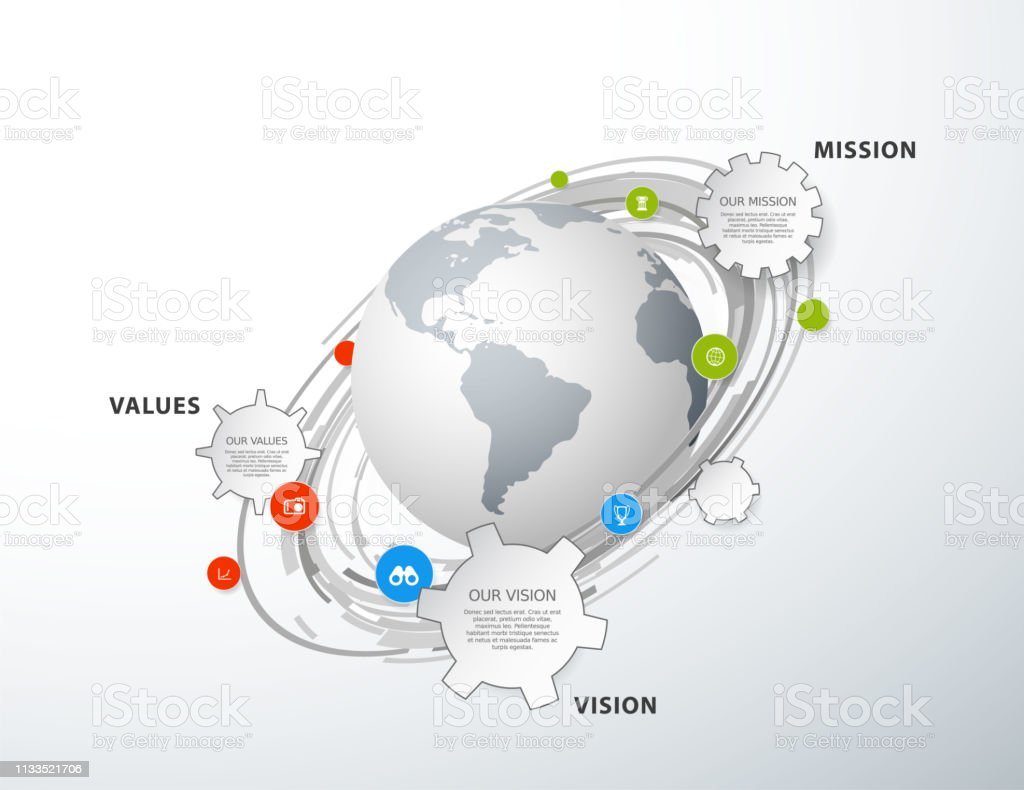 hight resolution of vector template with colorful circles and mission vision and values diagram with globe royalty