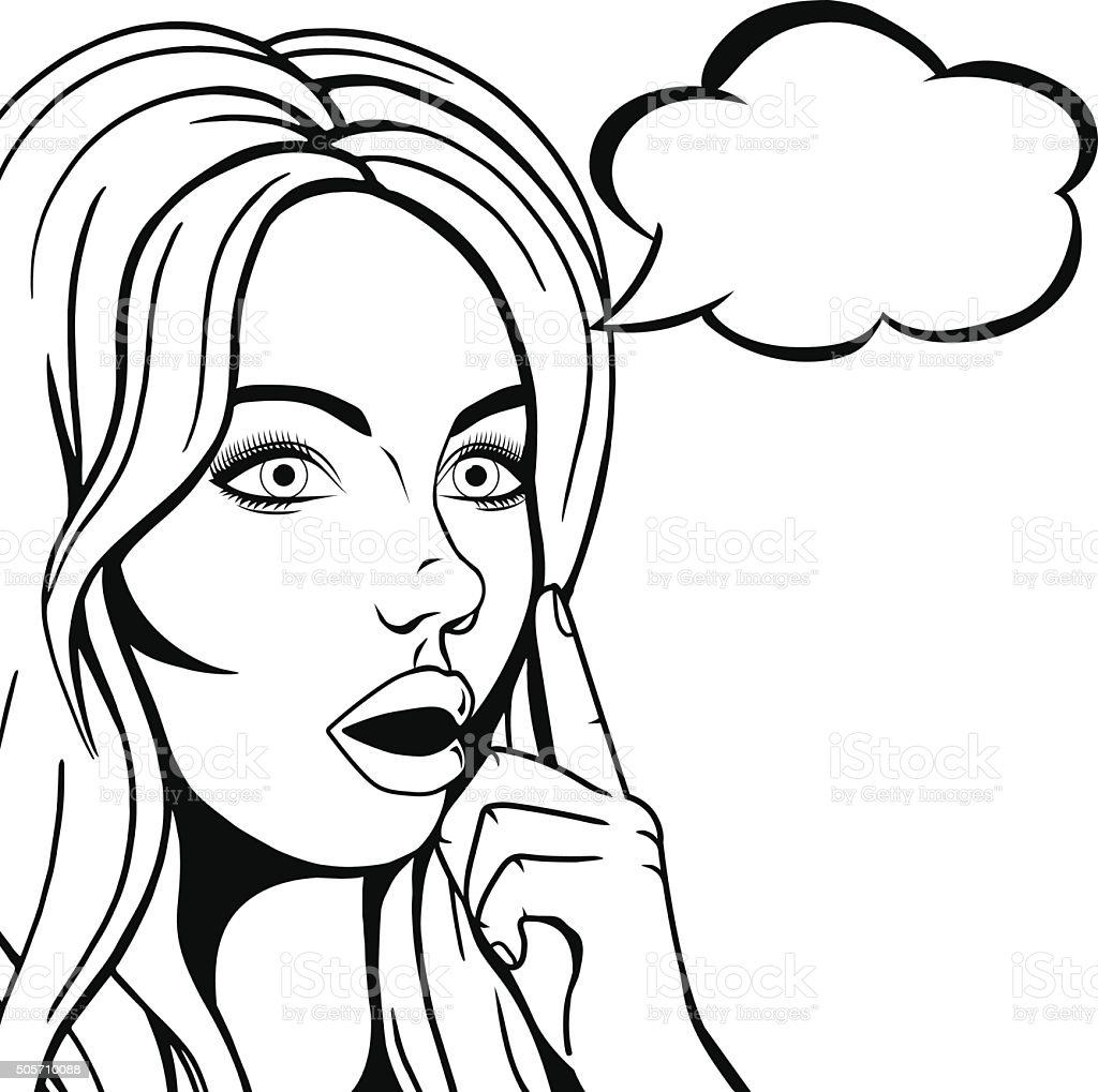 Vector Thinking Woman Face With Open Mouth Graphic Sketch
