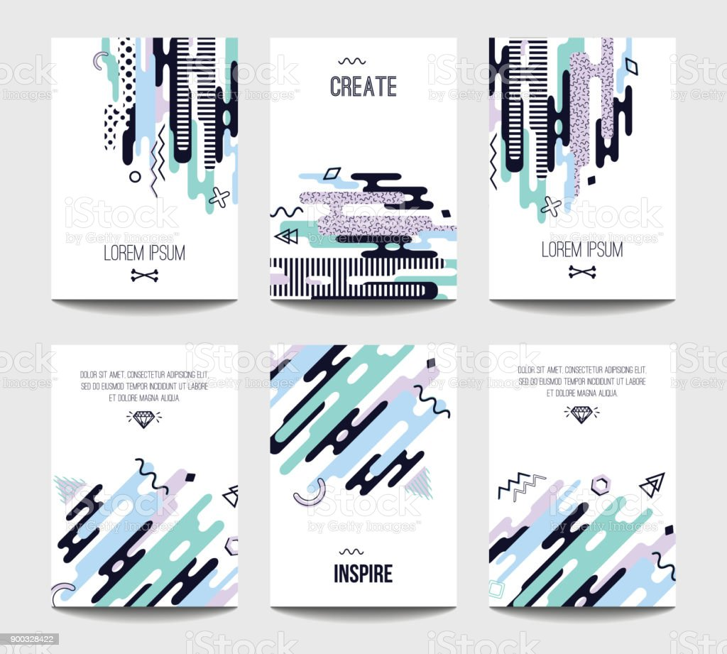 Vector Trendy Brochure Templates With Chaotic Flat Geometry In Retro Style.  Modern Minimalistic Design For